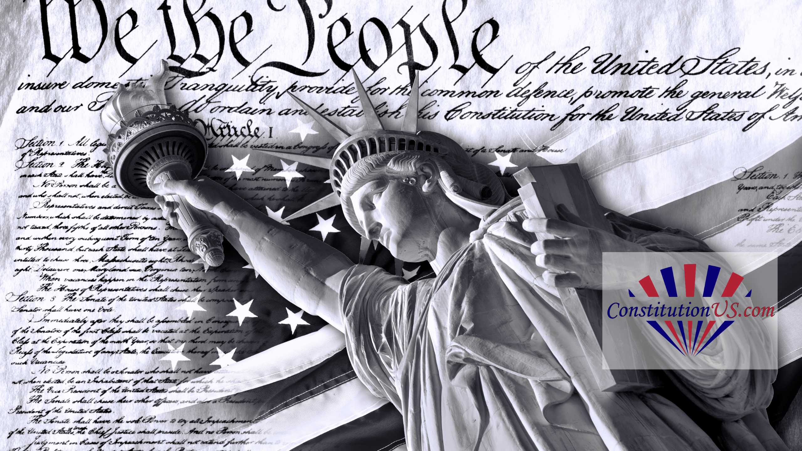 Statue of Liberty with US Constitution